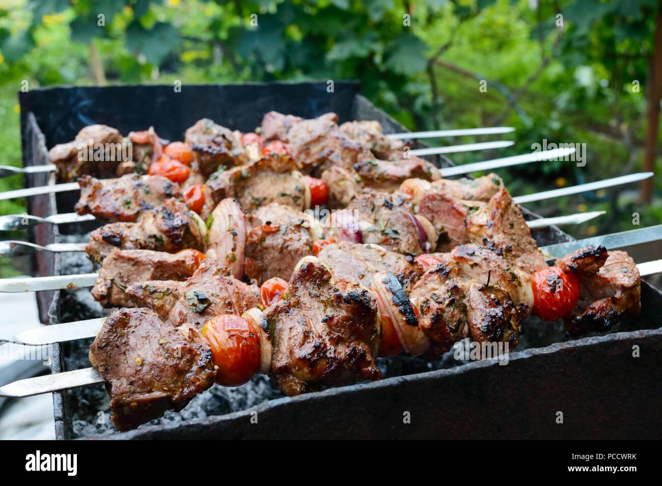 Succosa shish kebab di carne di maiale, pomodori su spiedini fritti su un fuoco all'aperto su uno sfondo di natura. Barbecue. Immagini Stock