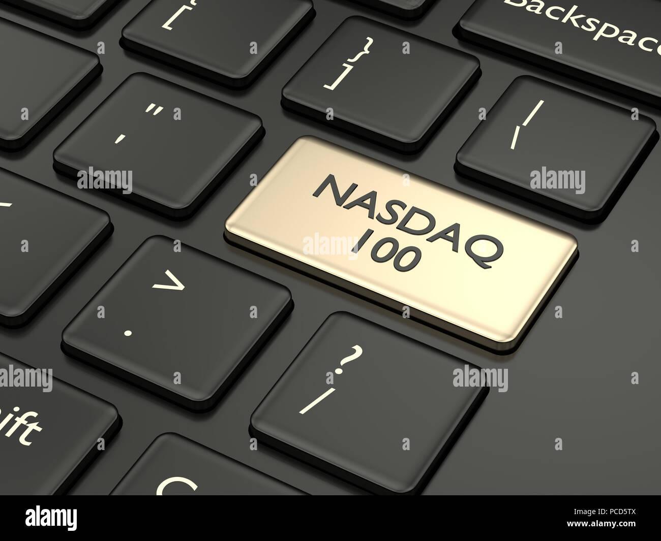 3D render closeup della tastiera del computer con NASDAQ 100 Pulsante index. Il mercato azionario indici concetto. Foto Stock