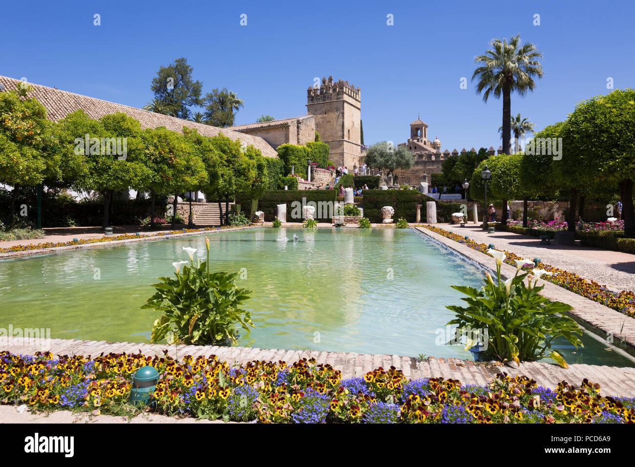 Giardini dell'Alcazar de los Reyes Cristianos, Sito Patrimonio Mondiale dell'UNESCO, Cordoba, Andalusia, Spagna, Europa Immagini Stock