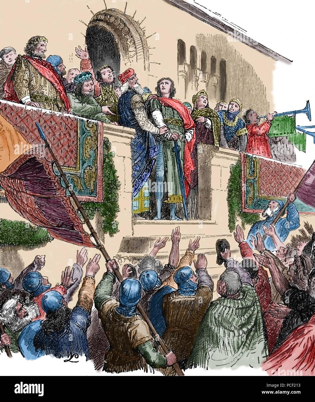 Conrad I della Germania (c. 881-918). Re di Francia da 911-918. Non dinastia carolingia. Eletto per la nobiltà. Casa Conradines. Immagini Stock