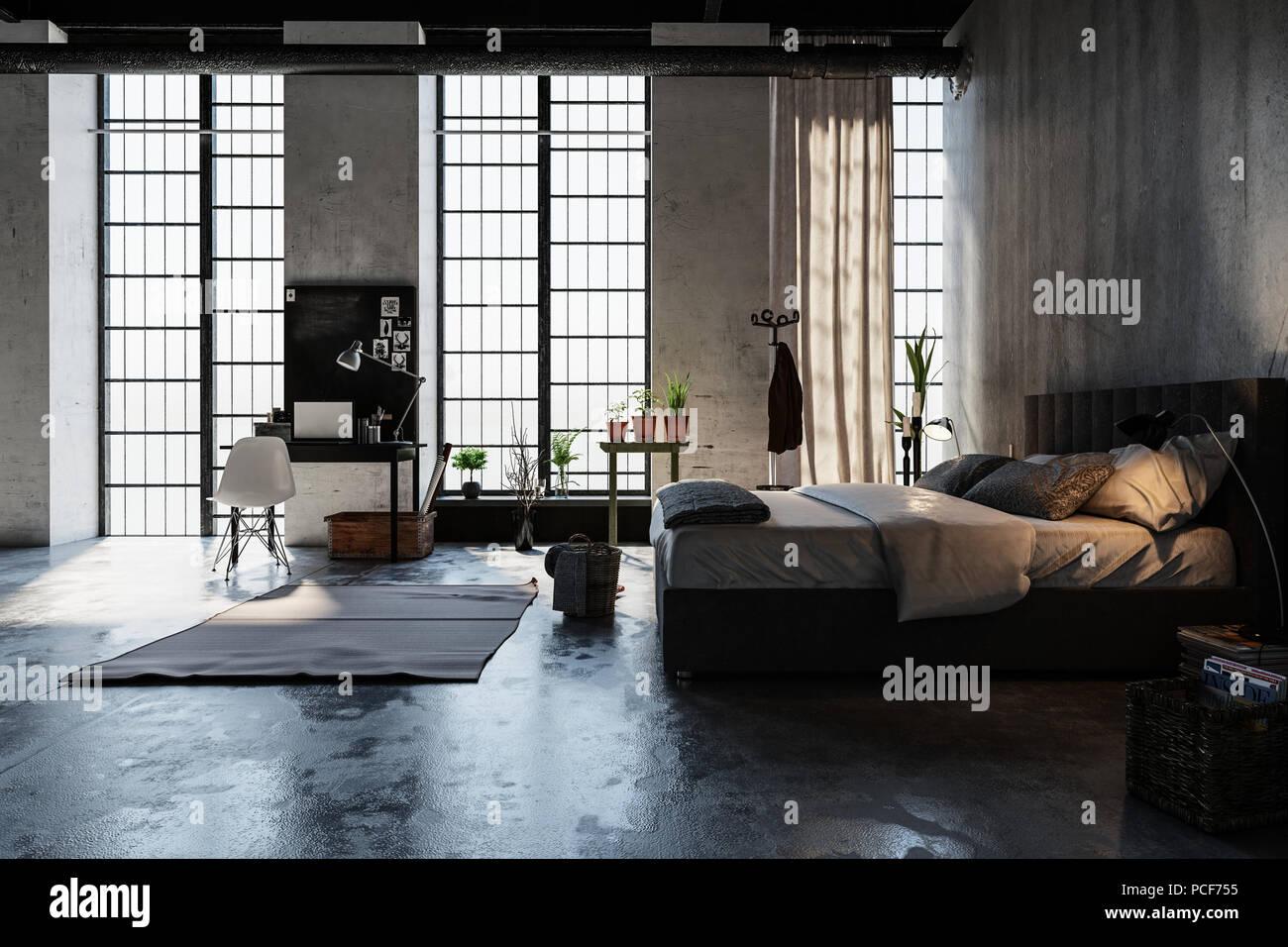 Illuminazione Camera Da Letto Mansardata : Moderno e alla moda di conversione mansarda camera da letto con