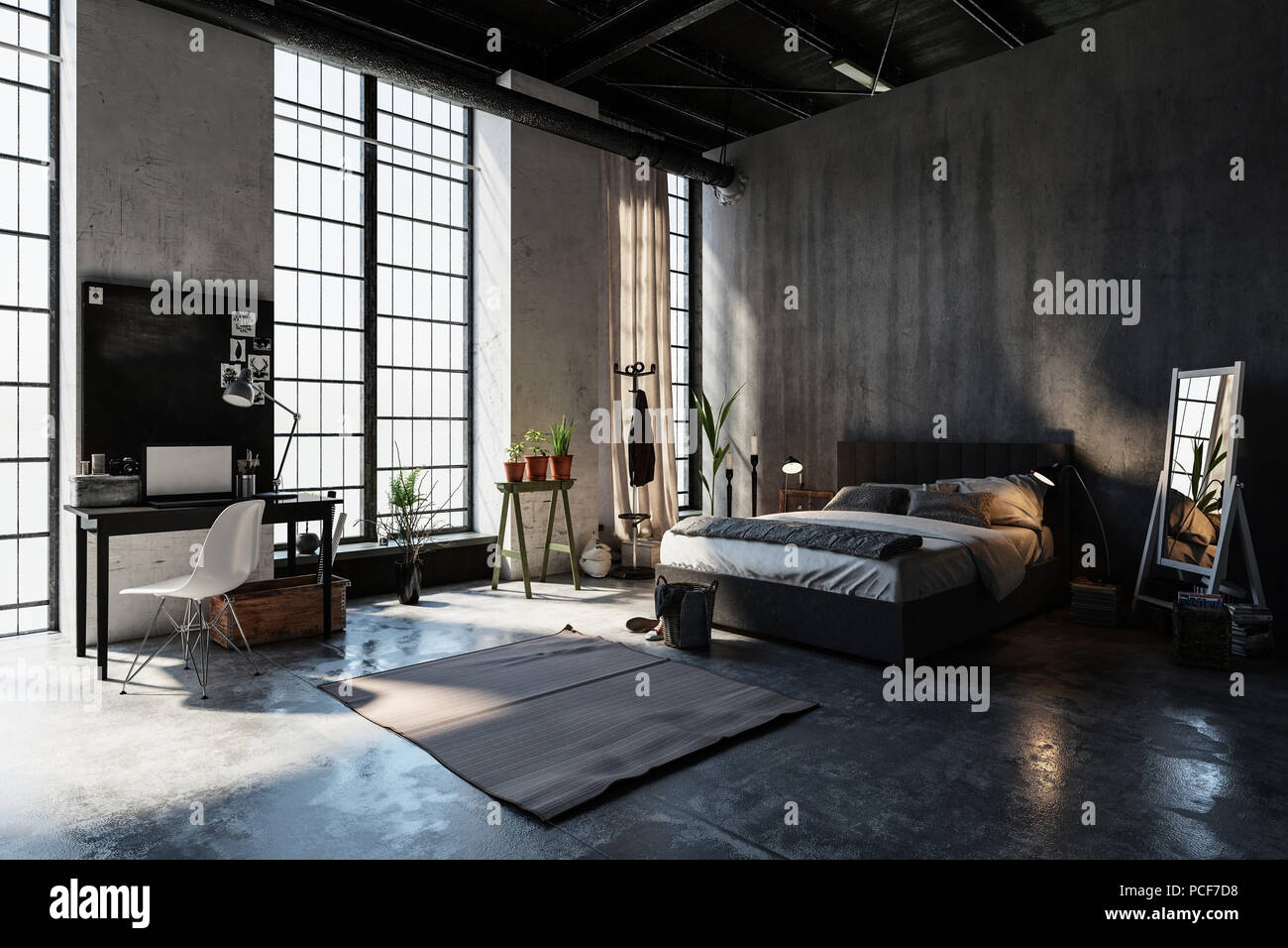 Camere Da Letto Pareti Grigie : Grande e spaziosa camera da letto in un attico la conversione con