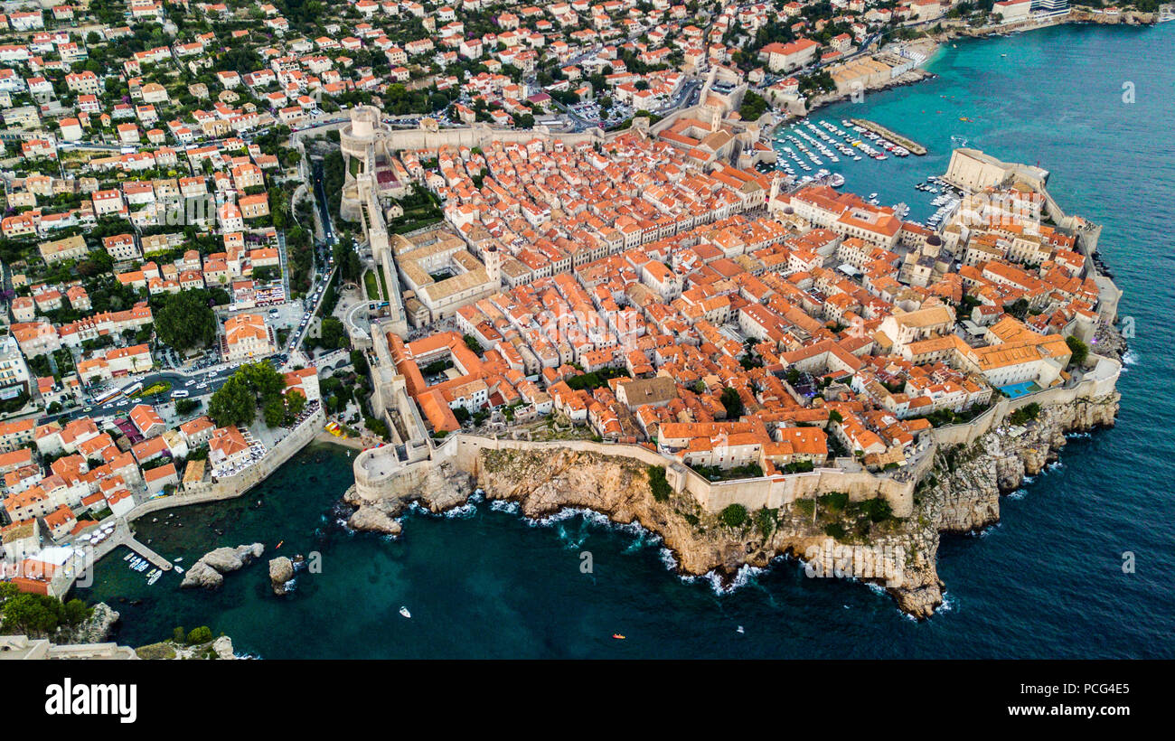 Mura della Città Vecchia di Dubrovnik, Croazia Immagini Stock