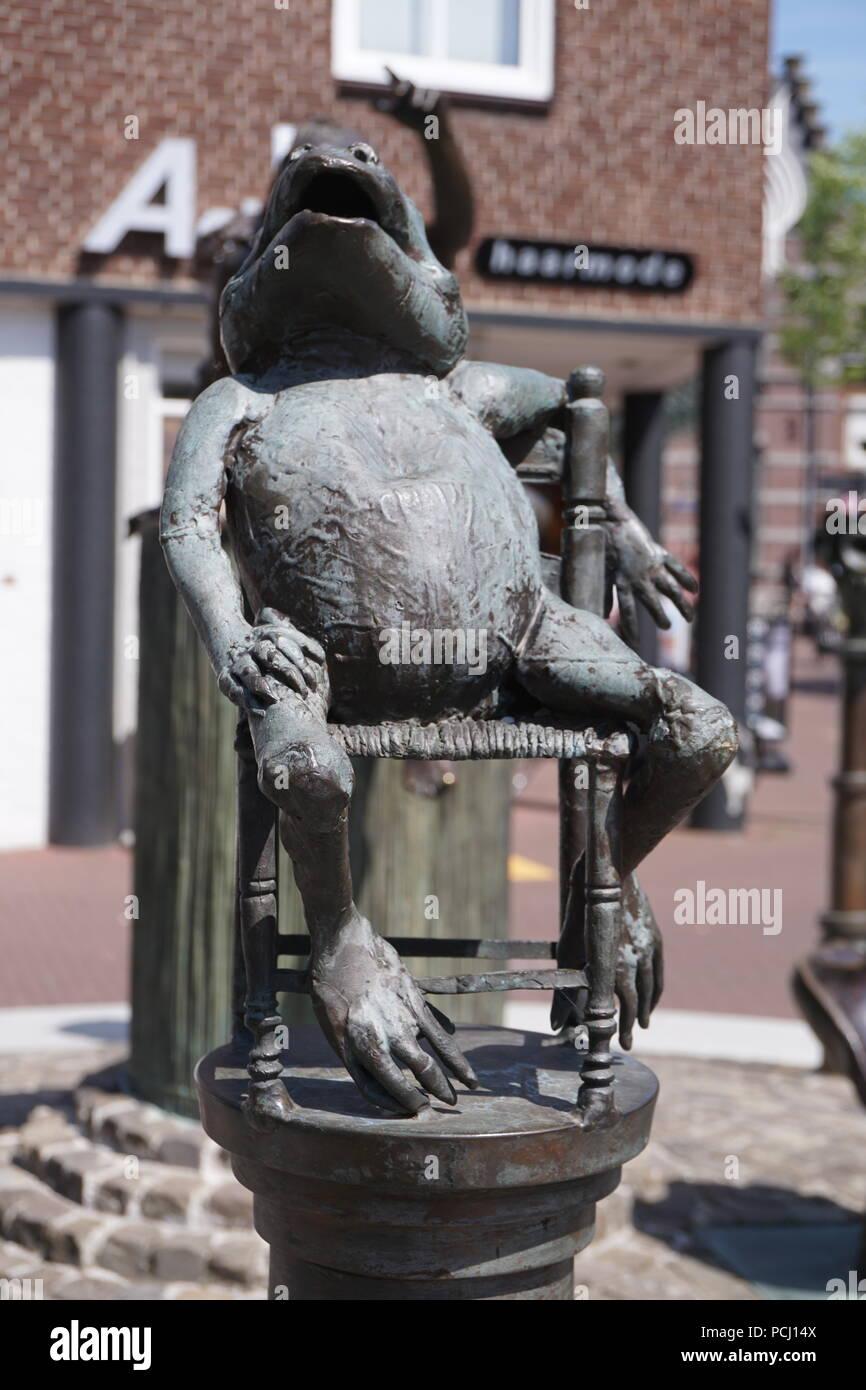 Il vecchio Rana, streetarts, Horst, Olanda Immagini Stock