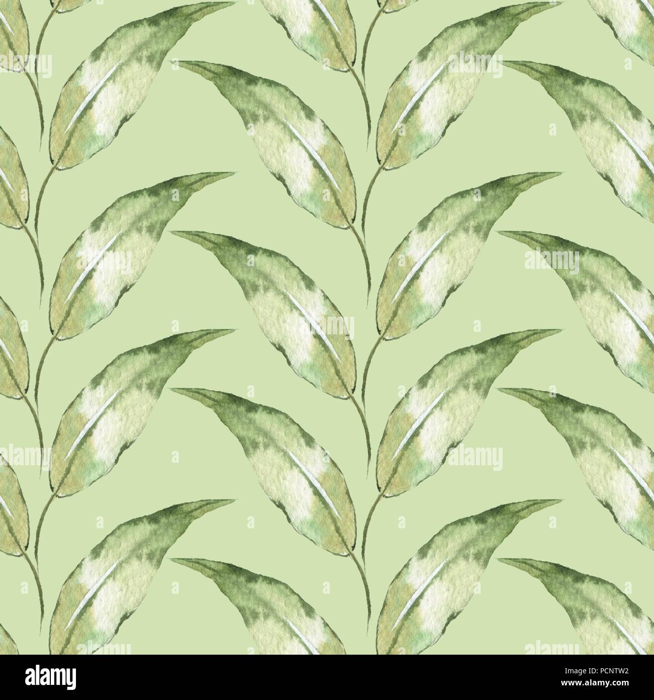 Motivo Floreale Senza Cuciture Con Sfondo Verde Foglie Ad