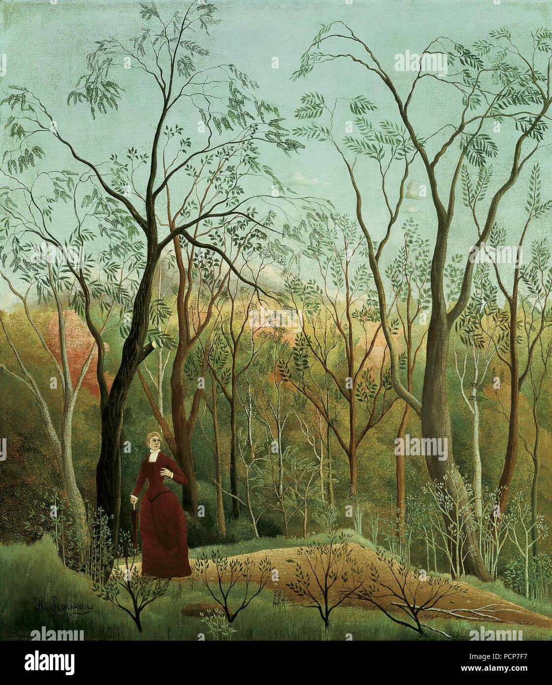 La Promenade dans la perêt (la passeggiata nella foresta), c. 1886. Presenti nella collezione del museo Kunsthaus Züricco. Immagini Stock
