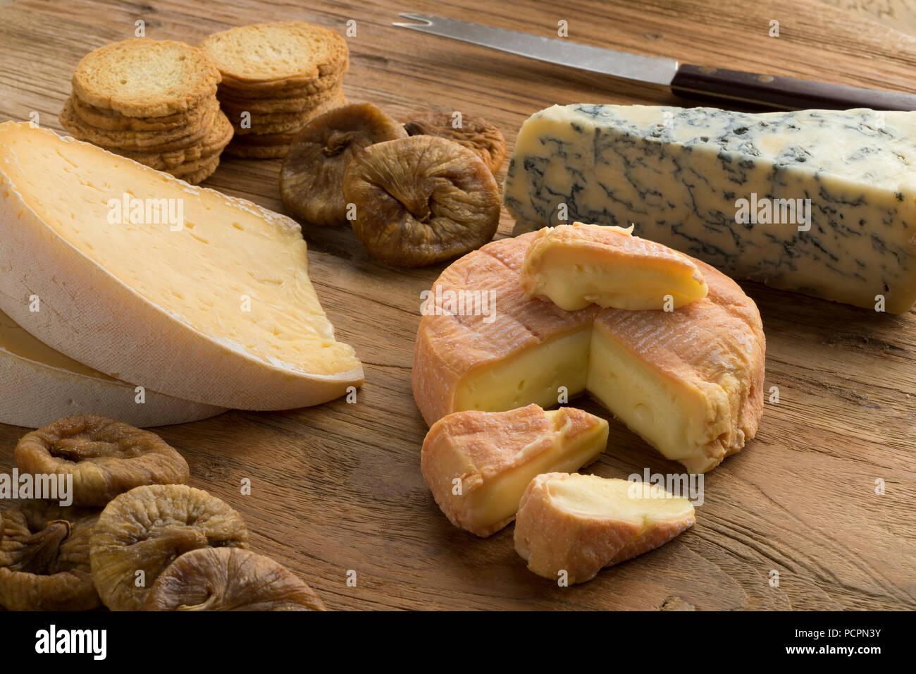 Scheda di formaggio con una varietà di formaggi, i fichi secchi e toast e per dessert Immagini Stock
