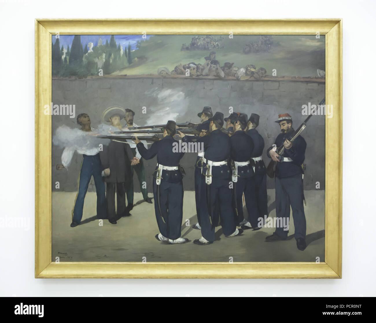 Dipinto 'l'esecuzione dell'Imperatore Massimiliano' dal francese pittore impressionista Édouard Manet (1868-1869) sul display nella Kunsthalle di Mannheim in Mannheim, Baden-Württemberg, Germania. Immagini Stock