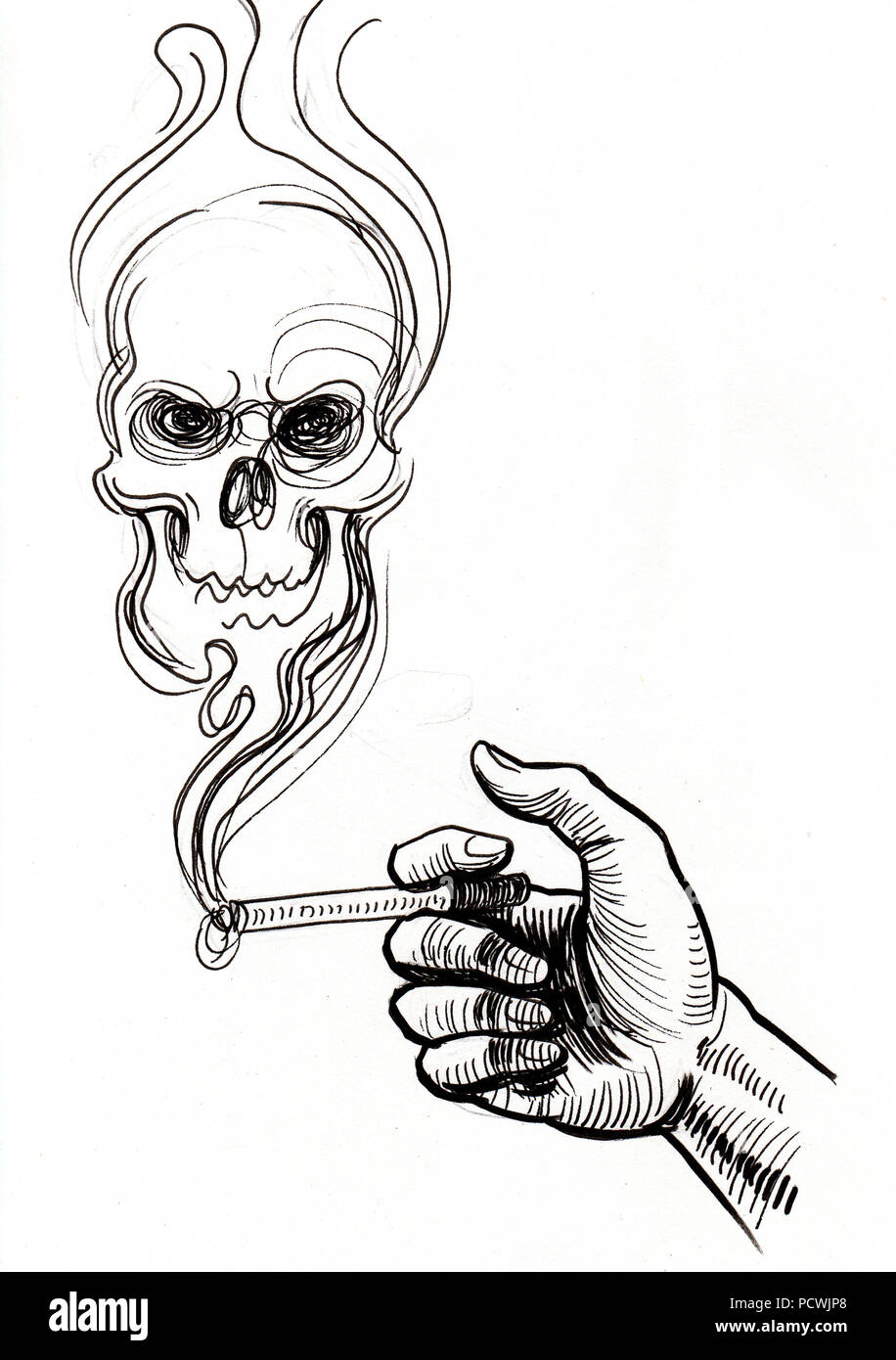 Una Mano Con Il Fumo Di Sigarette E Il Cranio Linchiostro Bianco E