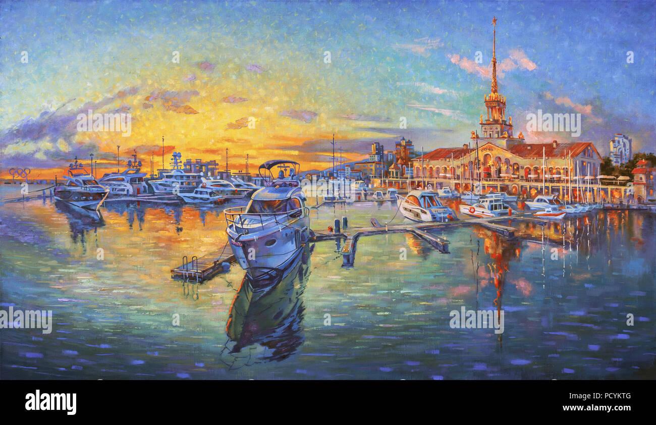 Un dipinto ad olio su tela di seaport Sochi, in un ambiente luminoso e colorato tramonto. Pittura: canvas, olio. Autore: Nikolay Sivenkov Immagini Stock