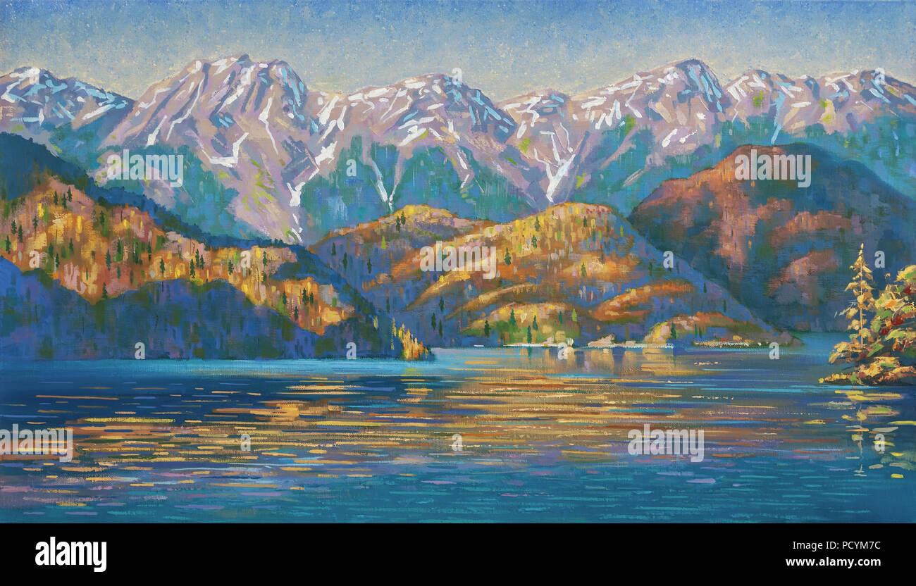Lago Ritsa in autunno. Abkhazia. Un dipinto ad olio su tela. Il pittoresco lago Ritsa si trova in Abkhazia. Pittura: olio, canvas. Immagini Stock
