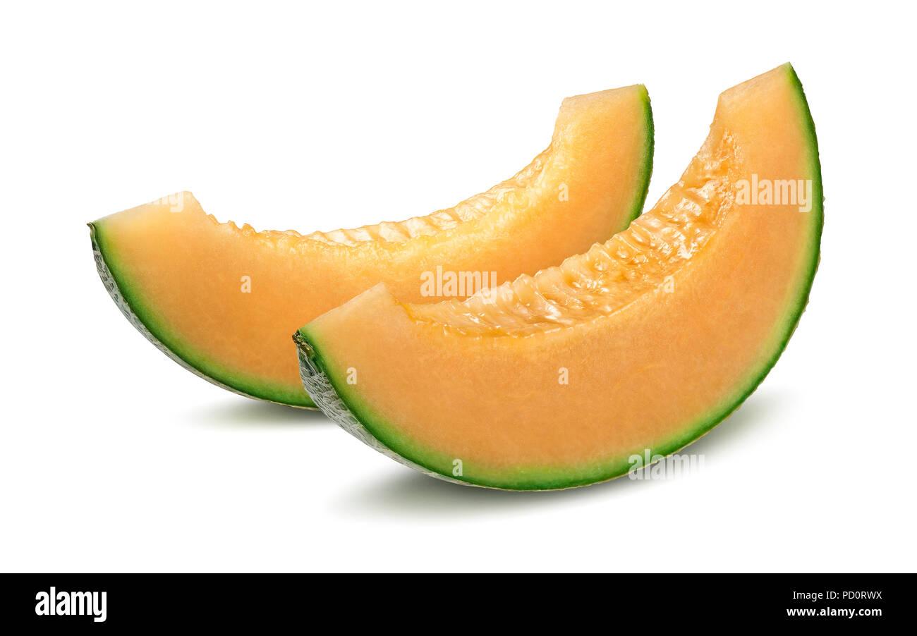 2 melone Cantalupo pezzi isolati su sfondo bianco Immagini Stock