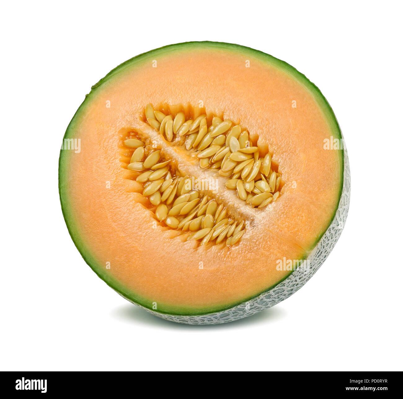 Il melone Cantalupo diviso a metà isolato su sfondo bianco Immagini Stock