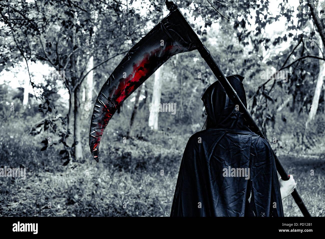 Vista posteriore di demon strega con reaper e sangue nel mistero foresta. L' orrore e la nozione di Ghost. Il giorno di Halloween e spaventoso tema scena. Immagini Stock