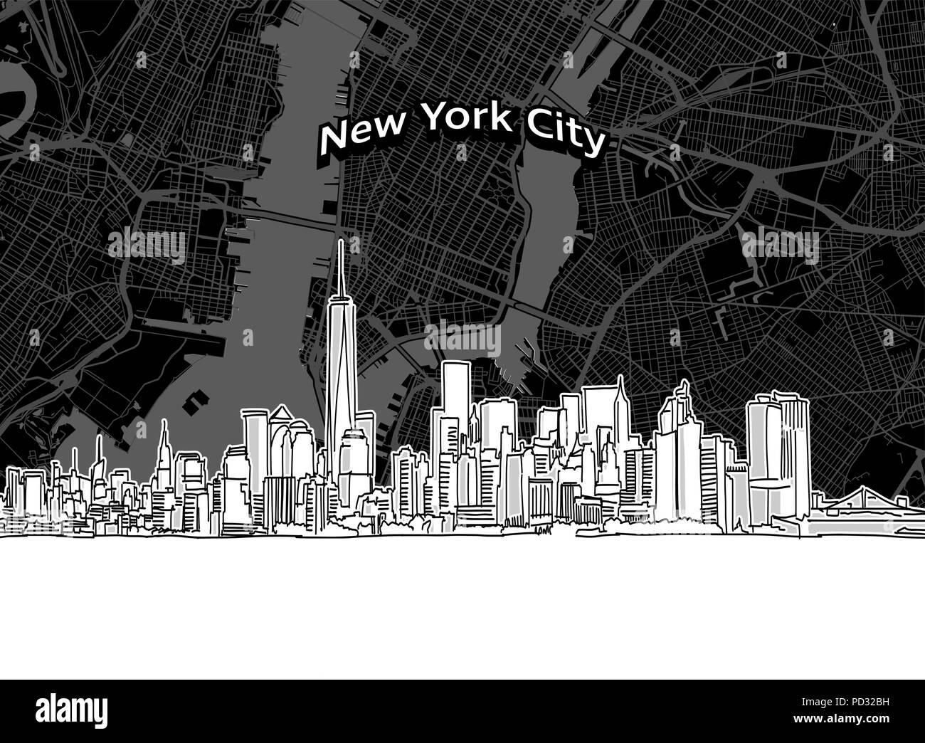Vettore Di Disegno Di New York Skyline Della Città Con La
