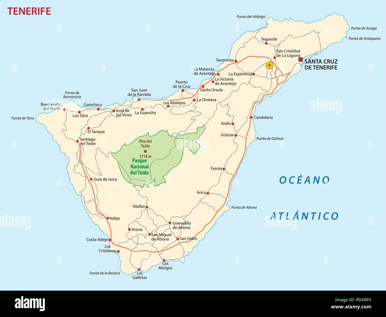 Isola Tenerife Cartina.Vettore Mappa Stradale Di Isola Canarie Tenerife Illustrazione