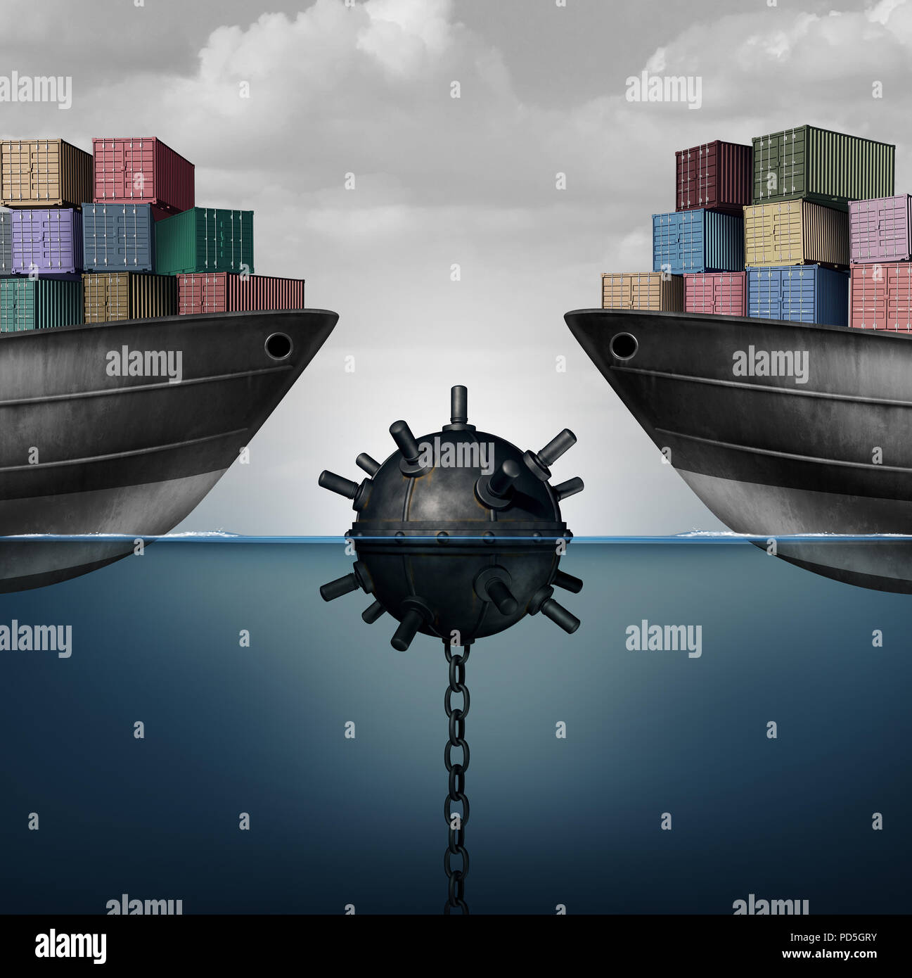 Attività pericolo come una miniera di mare mettendo a repentaglio il libero commercio e la politica economica come una corporate economia globale sfida dovuta alla politica. Immagini Stock