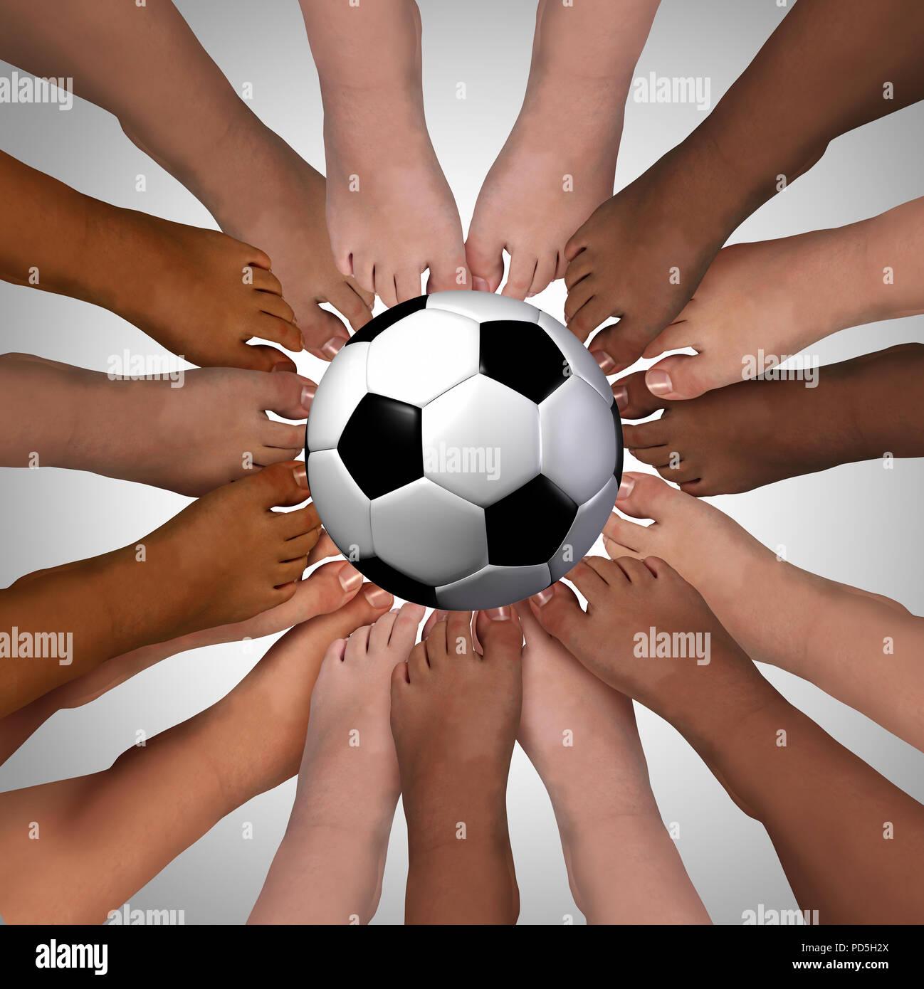 La diversità sport amicizia insieme permanente di giocare una squadra attività con 3D rendering di elementi. Immagini Stock