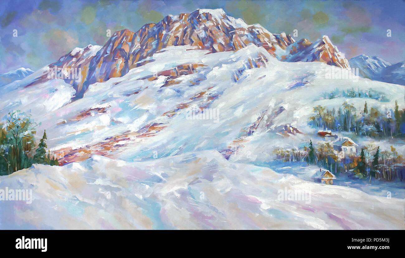 Un dipinto ad olio su tela. Derive di neve ai piedi del monte Fisht . Paesaggio di montagna in luminose e colori succosa. Autore: Nikolay Sivenkov. Immagini Stock