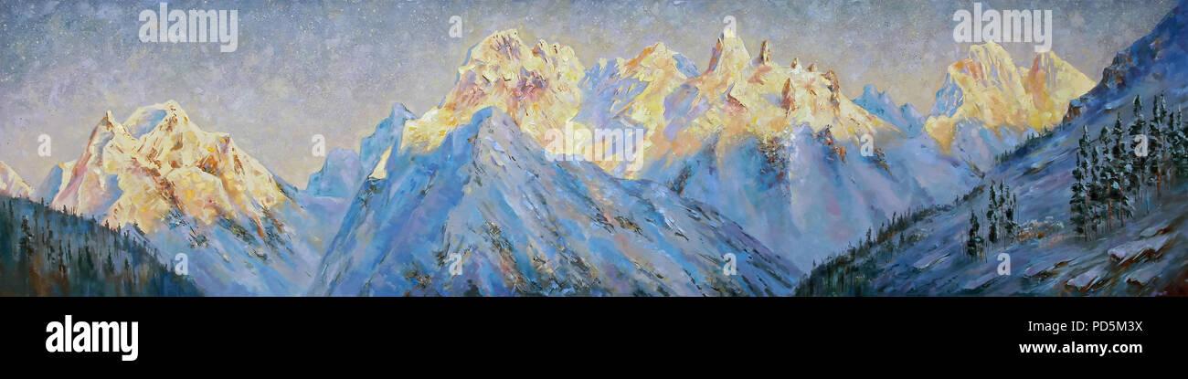 Un dipinto ad olio su tela. Picchi d'oro dell'Elbrus regione all'alba. Paesaggio di montagna nella luminosa e succosa toni. Autore: Nikolay Sivenkov. Immagini Stock