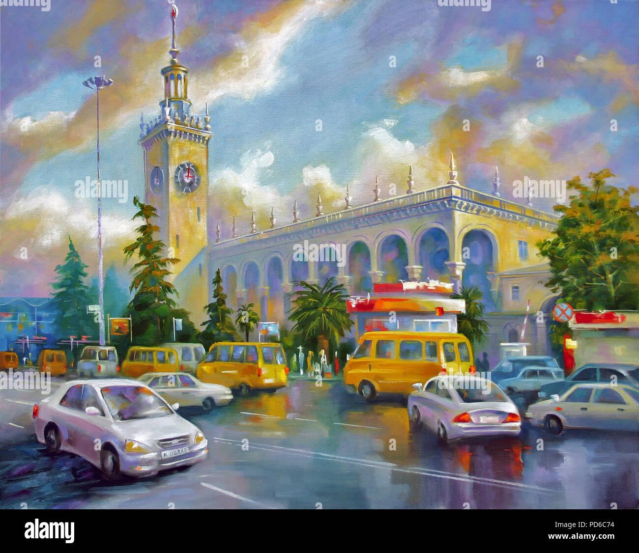 Un dipinto ad olio su tela. Sochi stazione ferroviaria, dopo la pioggia. Paesaggio architettonico della diletta città di Sochi. Autore: Nikolay Sivenkov. Immagini Stock