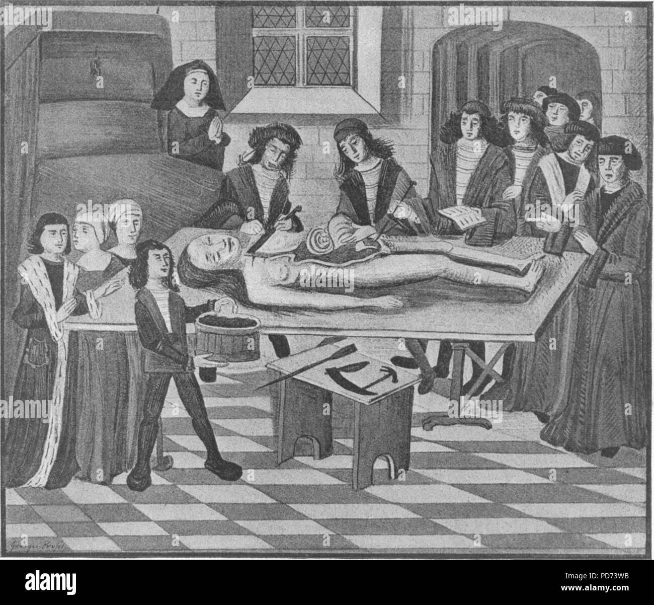 Anatomia xiv secolo. Immagini Stock