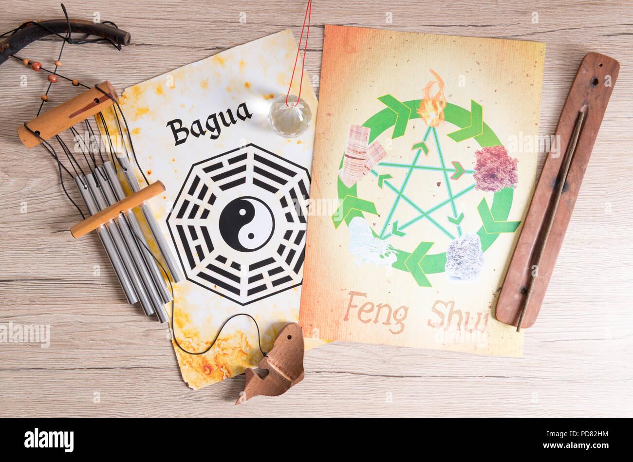 Immagine concettuale del Feng Shui con cinque elementi Immagini Stock