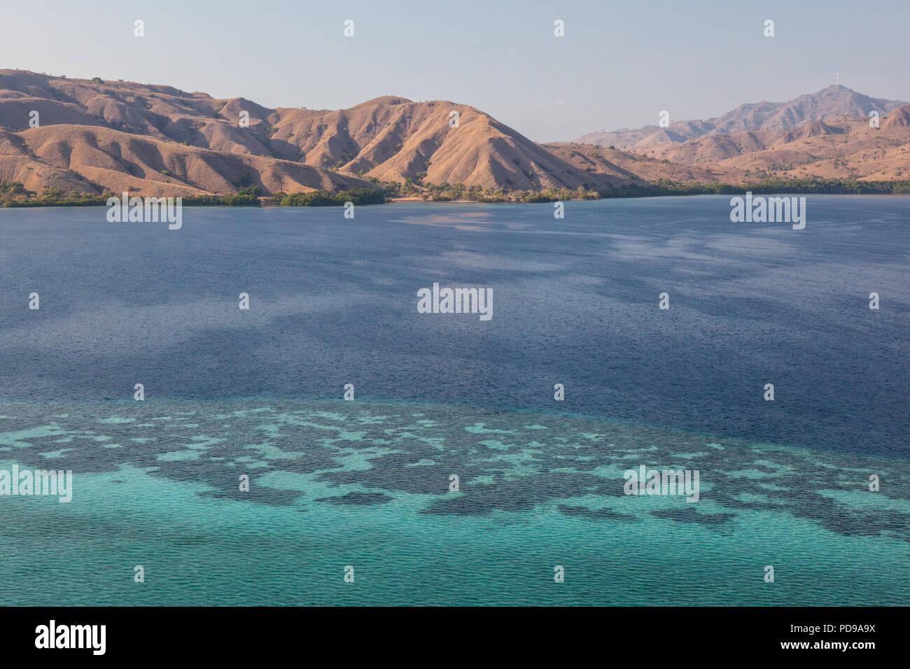 Sfrangiare barriere coralline circondano le numerose isole nel Parco Nazionale di Komodo, Indonesia. Immagini Stock
