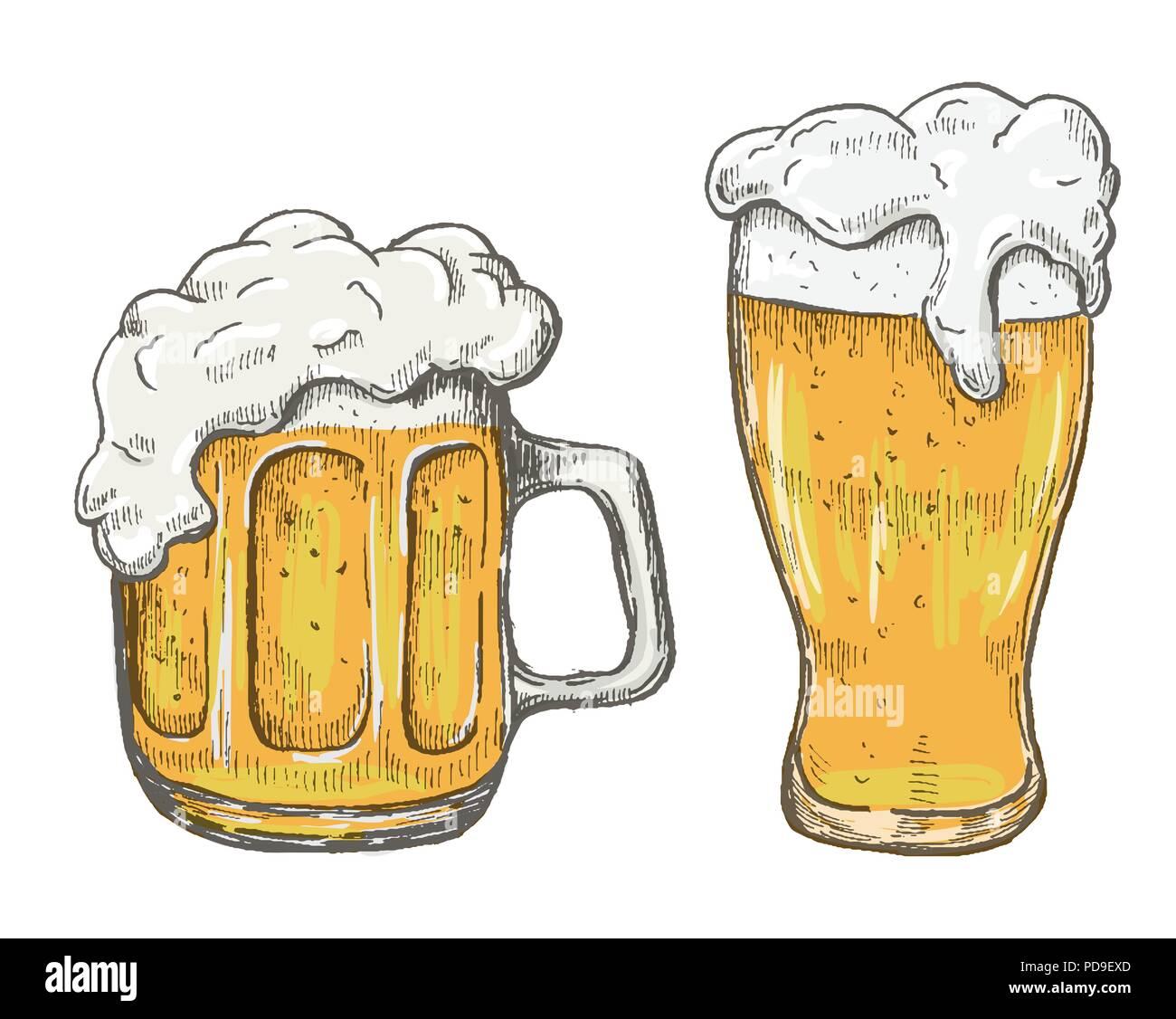 Vettore Di Disegno A Mano Boccale Di Birra In Sfondo Bianco