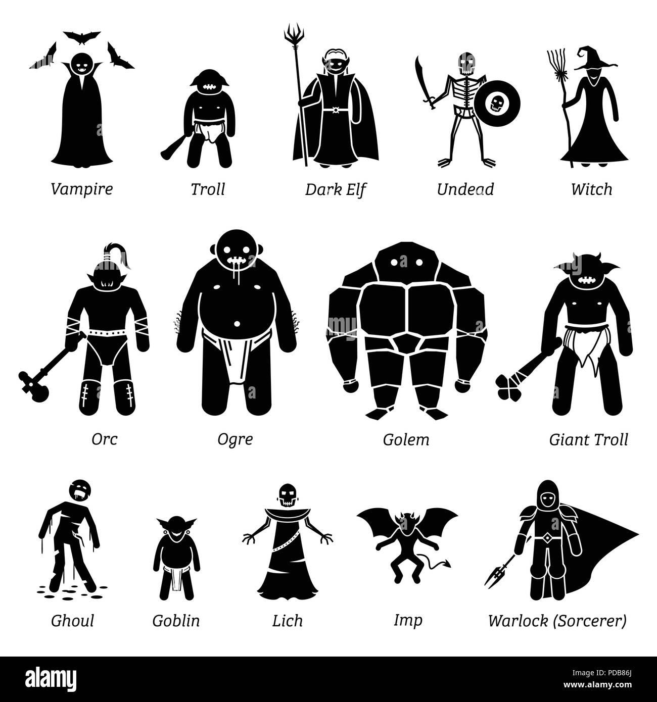 Antico borgo medioevale fantasy personaggi malvagi, creature e mostri icon set. Un vettore che illustra antica fantasy personaggi malvagi dal medioevo. Illustrazione Vettoriale