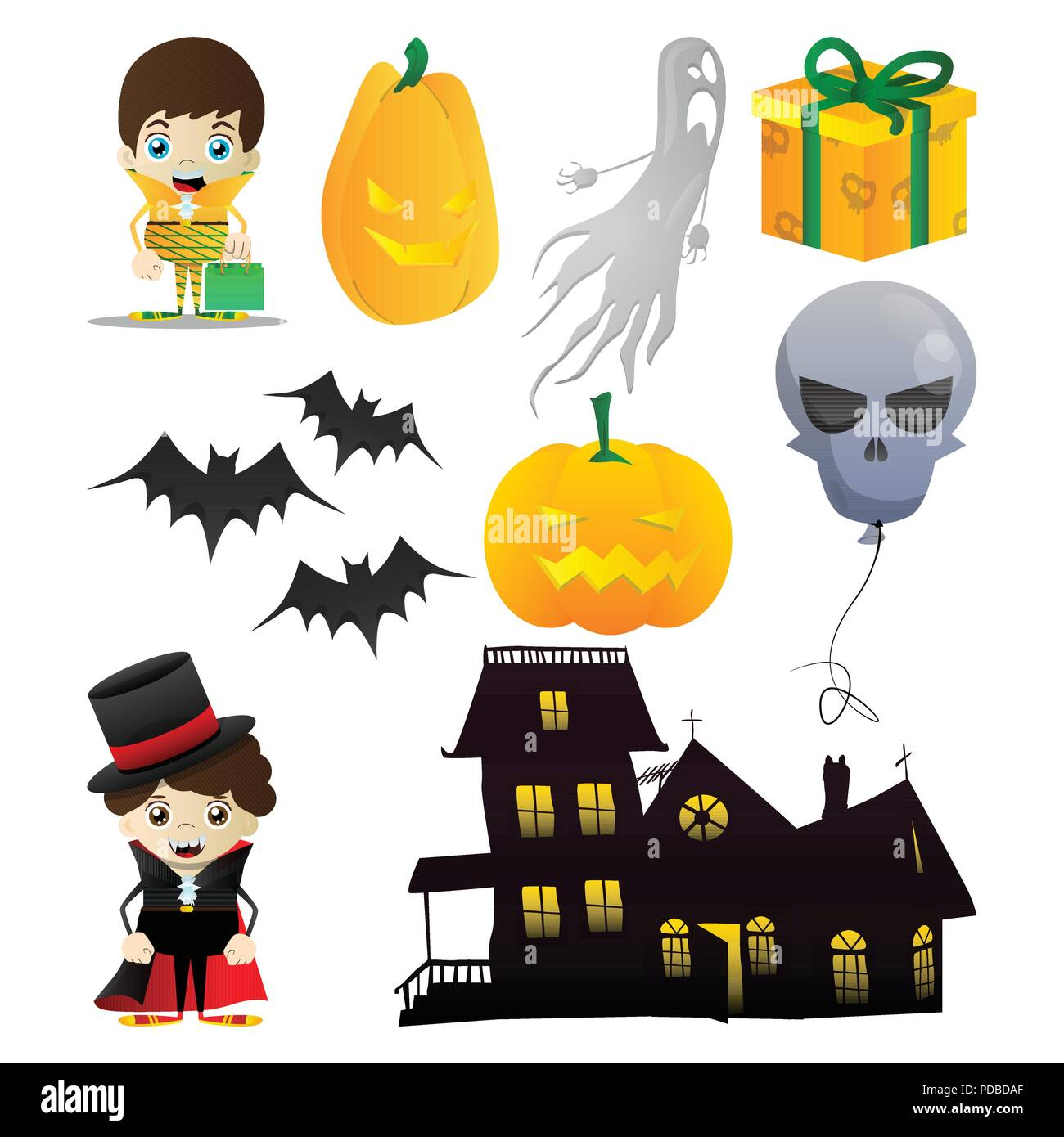 Zucche Di Halloween Cartoni Animati.Set Di Vettore Per La Festa Di Halloween In Vibranti Colorate In