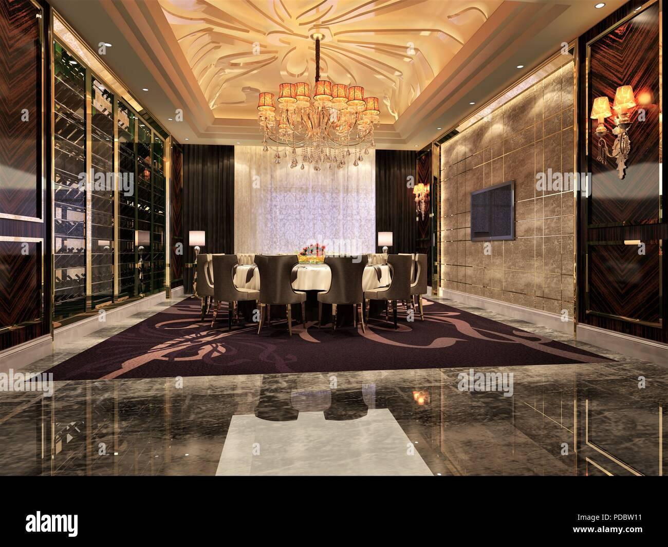 3D render di sale riunioni e sala da pranzo Foto & Immagine Stock ...