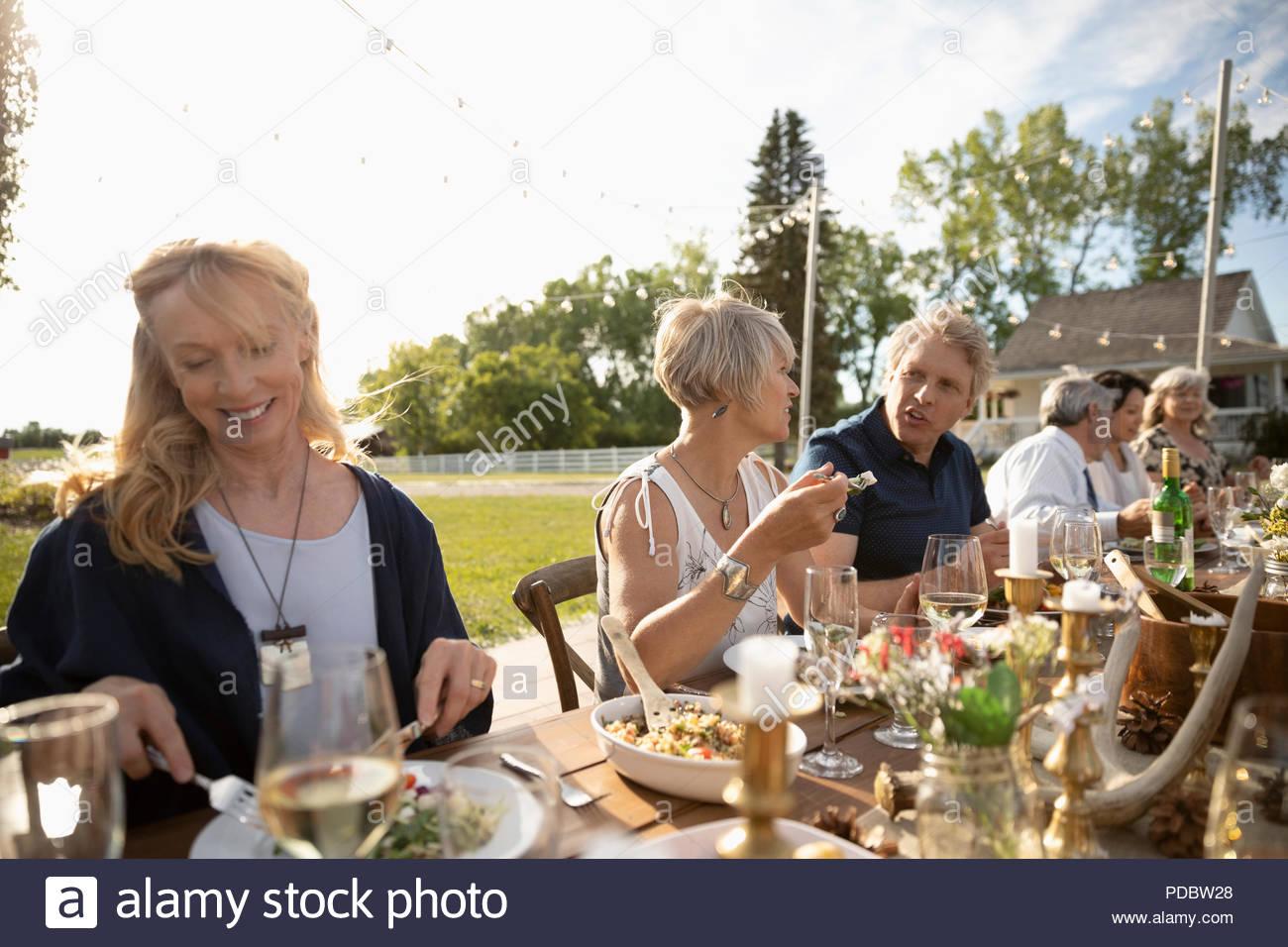 Gli amici di mangiare e bere a sunny garden party pranzo Immagini Stock