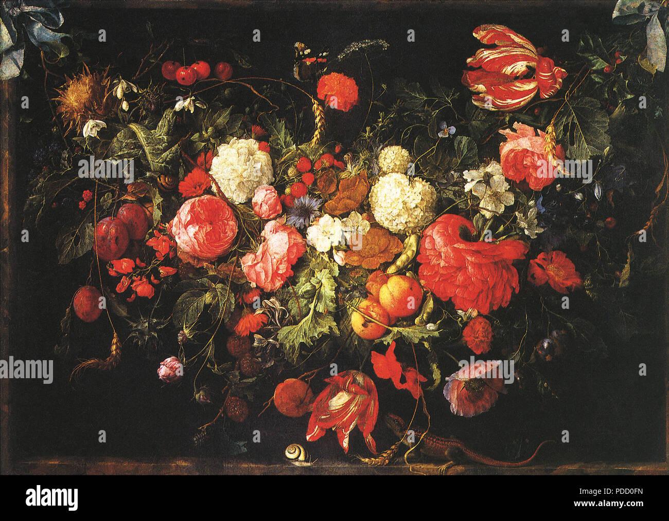 Un festone di fiori e frutta, Heem, Jan Davidsz de, . Foto Stock