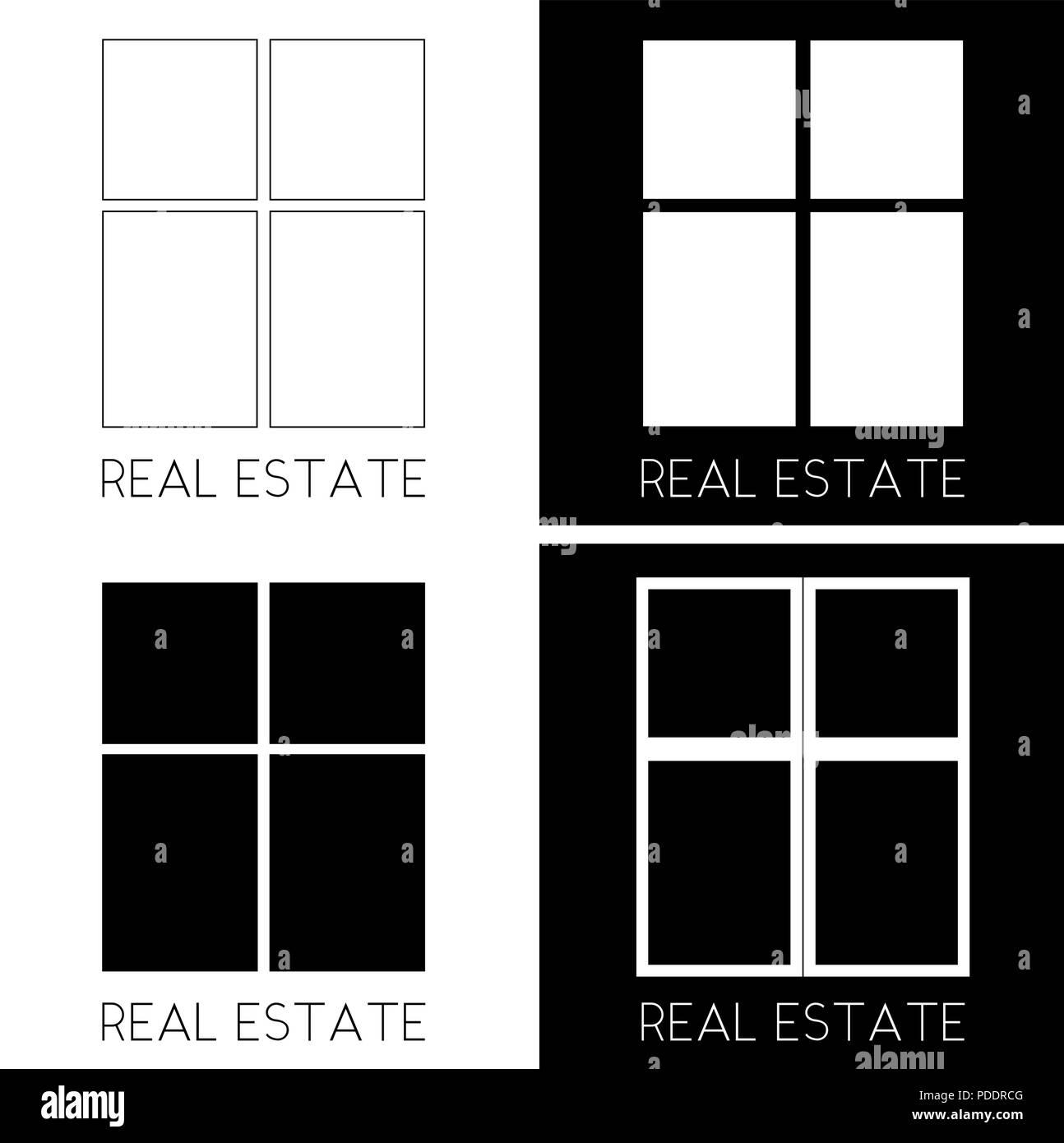 Finestra di rettangoli in diverse versioni immobiliare logo minimalista Immagini Stock