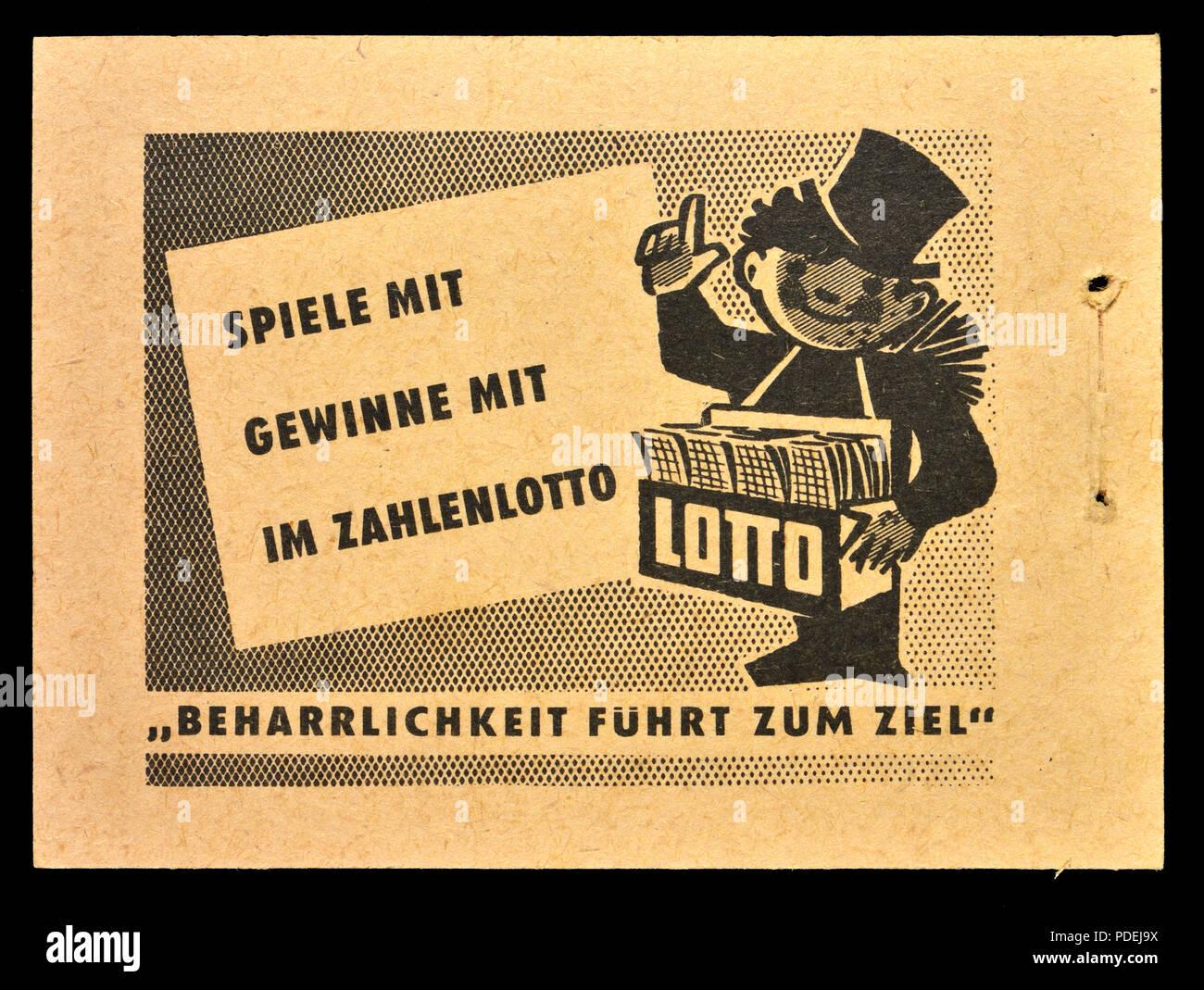 Annuncio tedesco da anni cinquanta tedesco orientale bollo libro: Lotto Immagini Stock