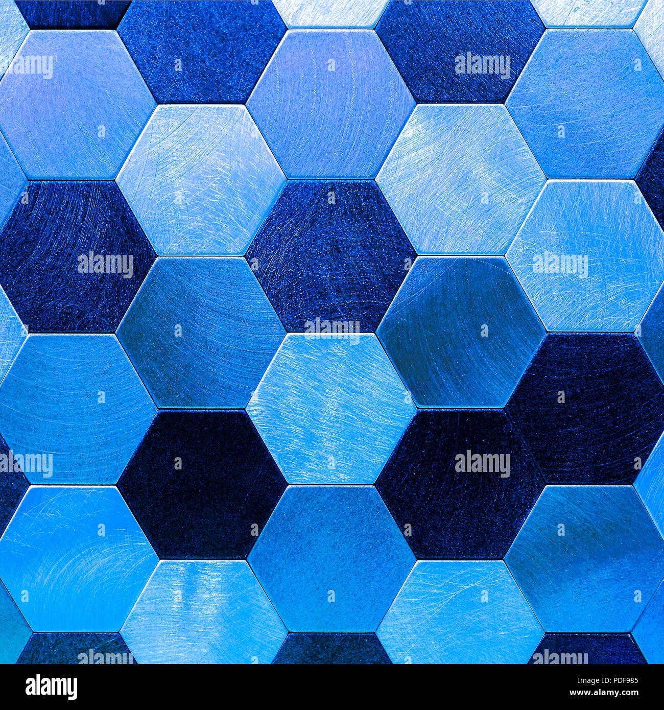 Abstract Argento Con Blu Metallizzato Sfondo Gli Esagoni Geometrica