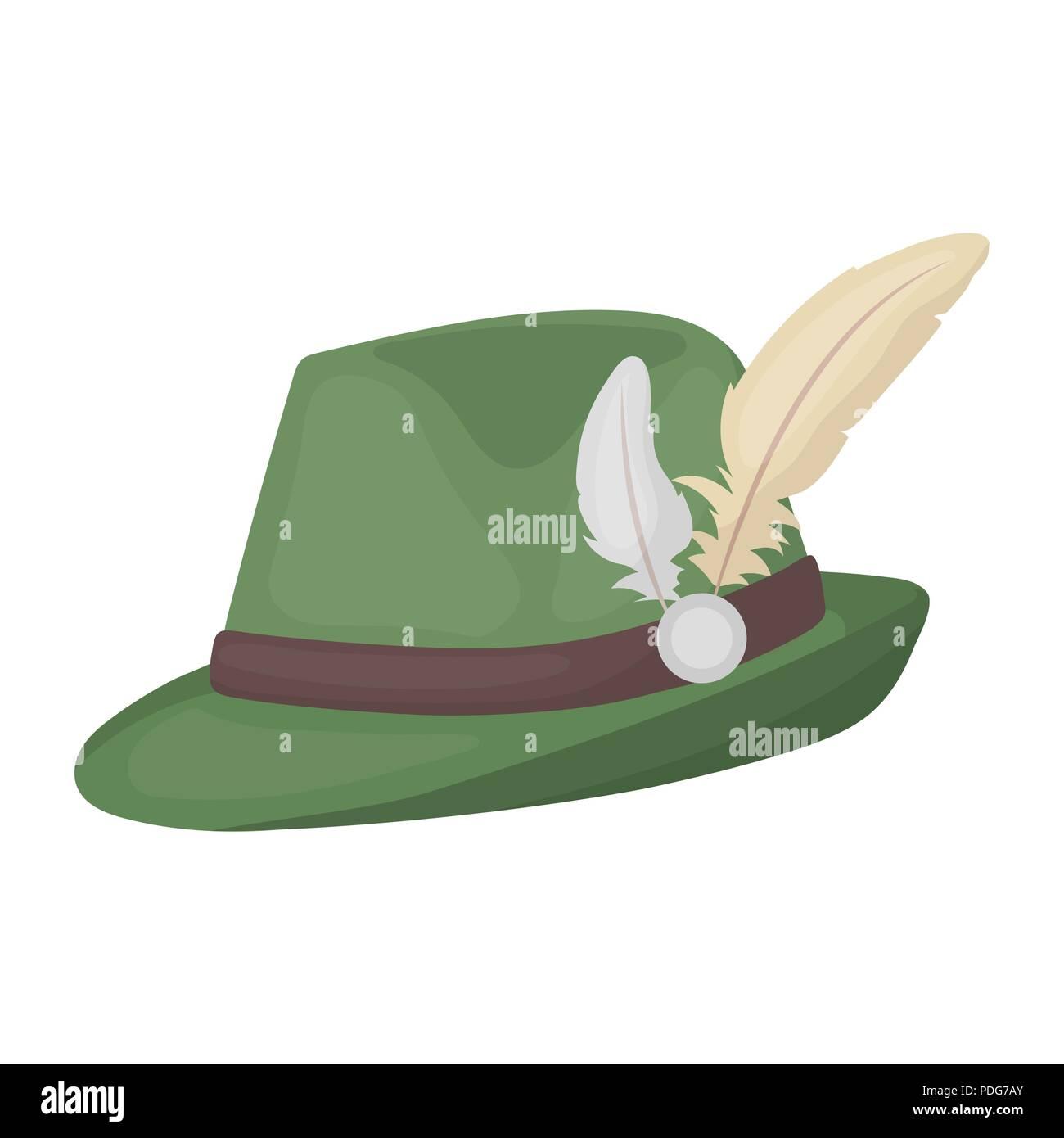 Cappello tirolese icona in stile cartoon isolati su sfondo bianco.  Oktoberfest simbolo illustrazione vettoriale. 41f182d3c83a