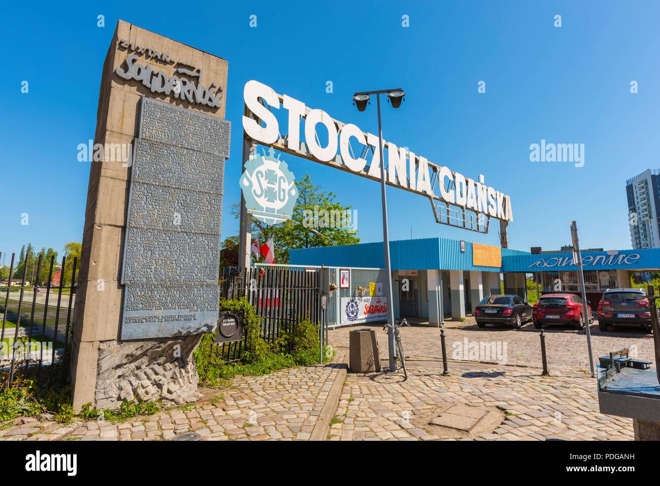 Cantiere di Danzica gate, vista dello storico numero 2 Porta del Cantiere di Danzica, sito del movimento di solidarietà colpisce nei primi anni ottanta, Polonia. Immagini Stock