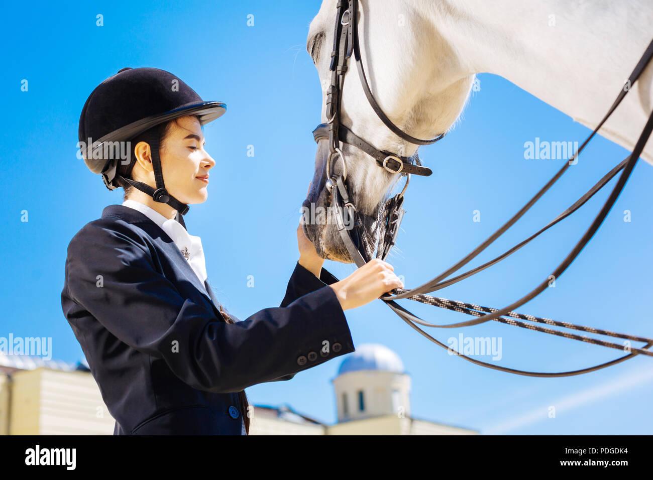 La cura amorevole horsewoman calmare il suo cavallo bianco Immagini Stock