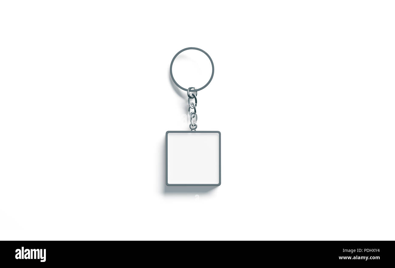 Metallo bianco bianco quadrato chiave catena mockup vista superiore, rendering 3d. Argento chiaro design portachiavi mock up isolato. Vuoto portachiavi semplice titolare di souvenir modello. Acciaio etichetta gingillo Immagini Stock