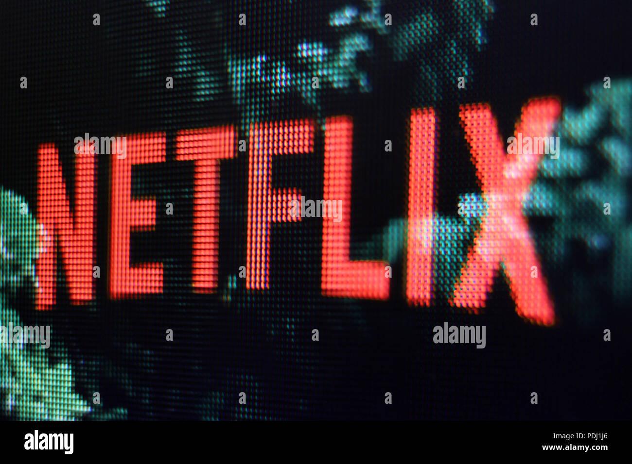 Il logo di Netflix sullo schermo Immagini Stock