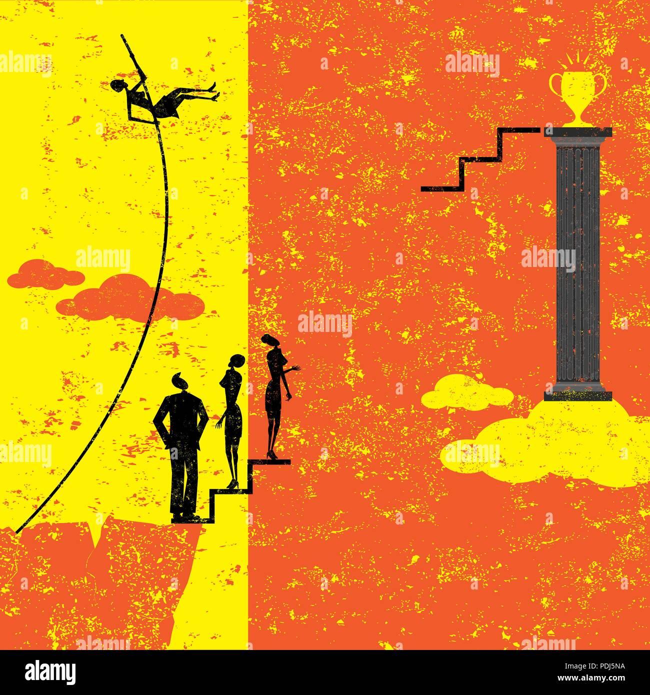 Superare gli ostacoli. Una imprenditrice pole vaulting su altre attività di persone di raggiungere il suo obiettivo. Illustrazione Vettoriale