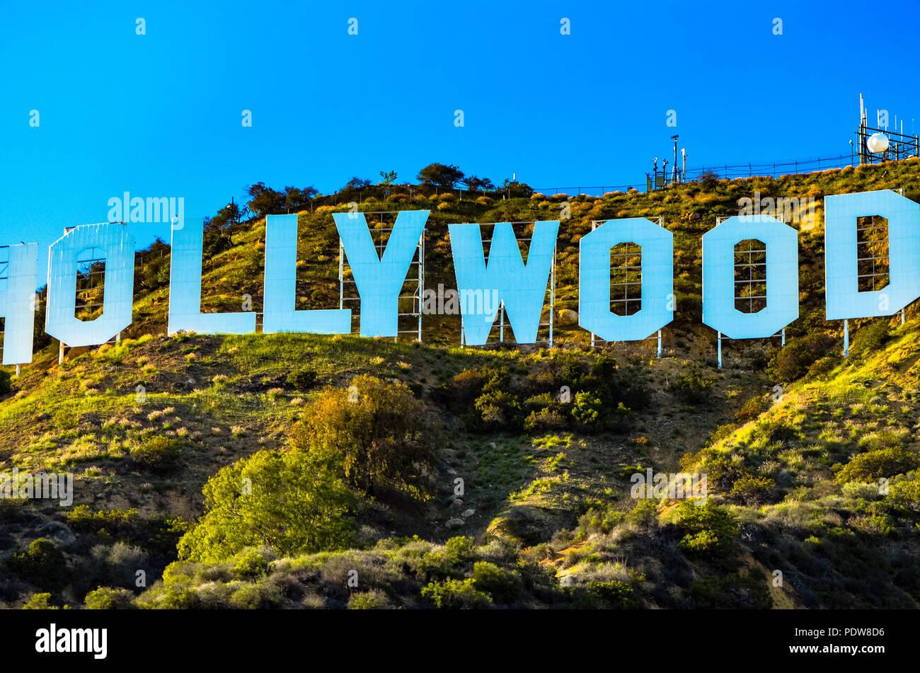 L'iconico Hollywood Sign in colline di Los Angeles in California Foto Stock