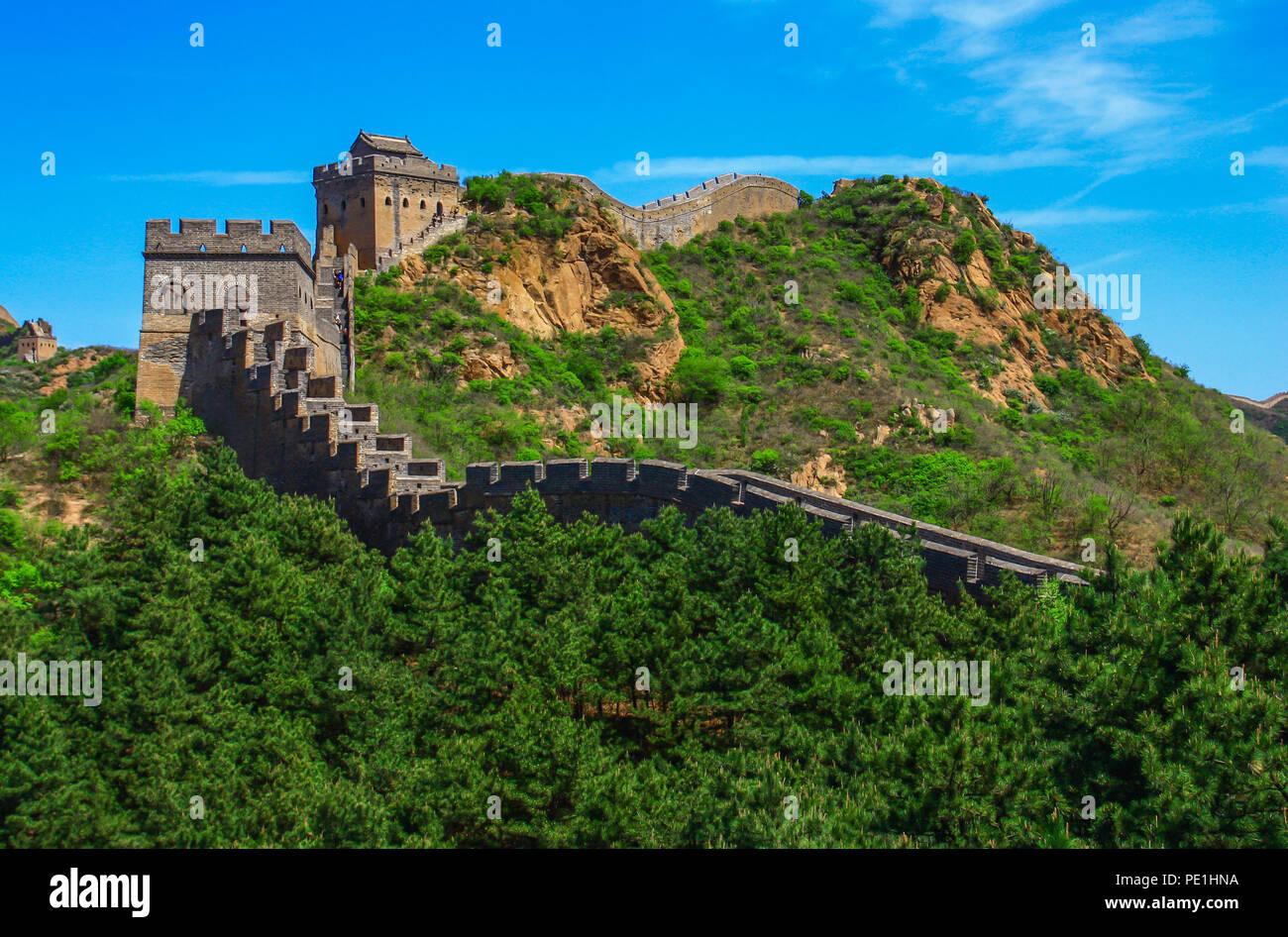 Jinshanling, Cina - probabilmente il più famoso punto di riferimento in Cina, il Grande Muro corre per circa 9.000 km Immagini Stock