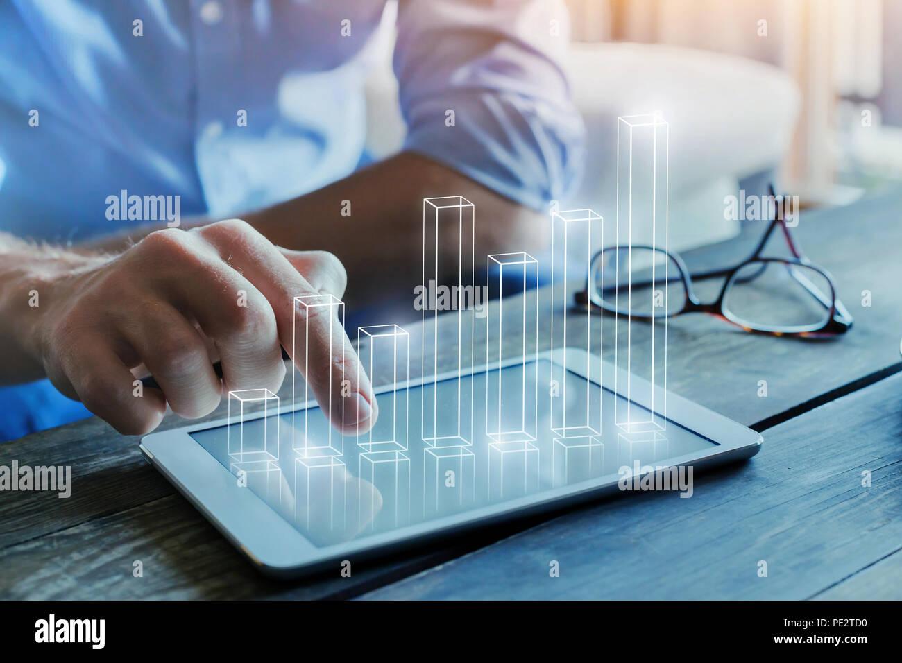 Business intelligence concetto, analisi finanziaria con 3d grafico a colonna Immagini Stock