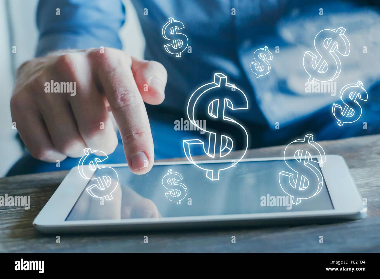 Concetto finanziario, online i profitti, e-business, guadagnare denaro su internet, l'e-commerce Immagini Stock