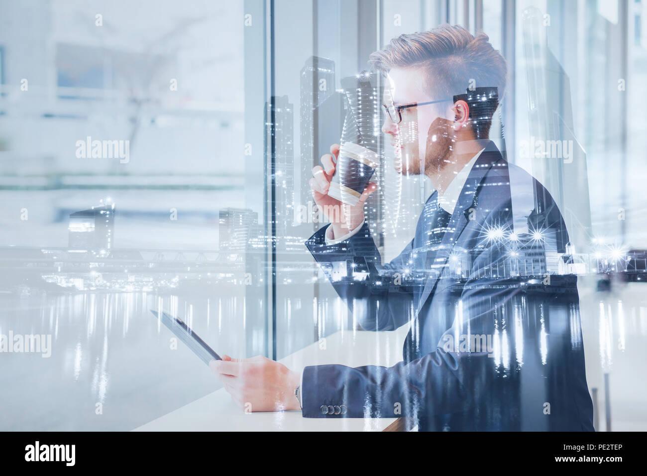 Opportunità di business concetto, doppia esposizione sullo sfondo Immagini Stock