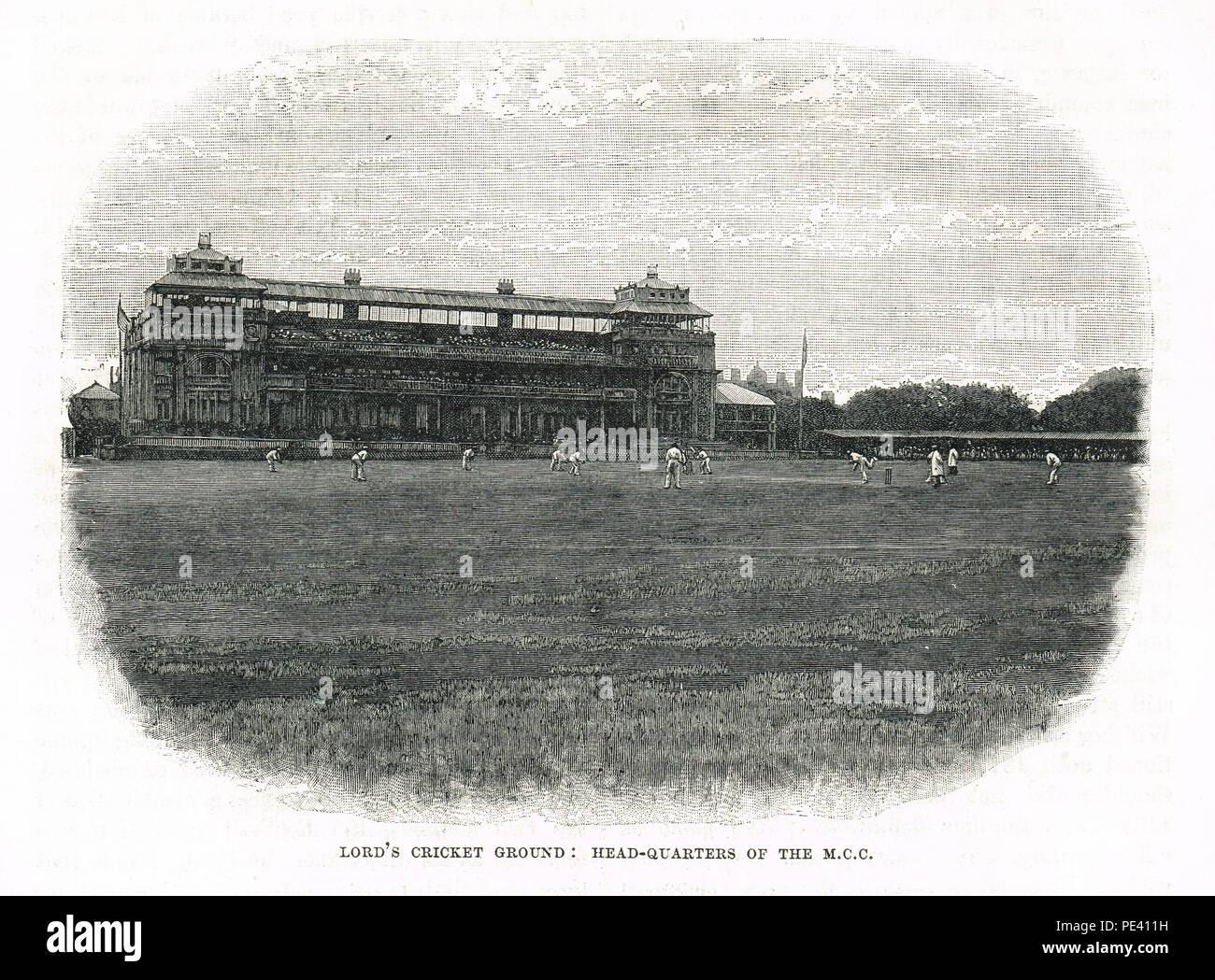 Il Lord's Cricket Ground, sede del M C C, secolo XIX view Immagini Stock