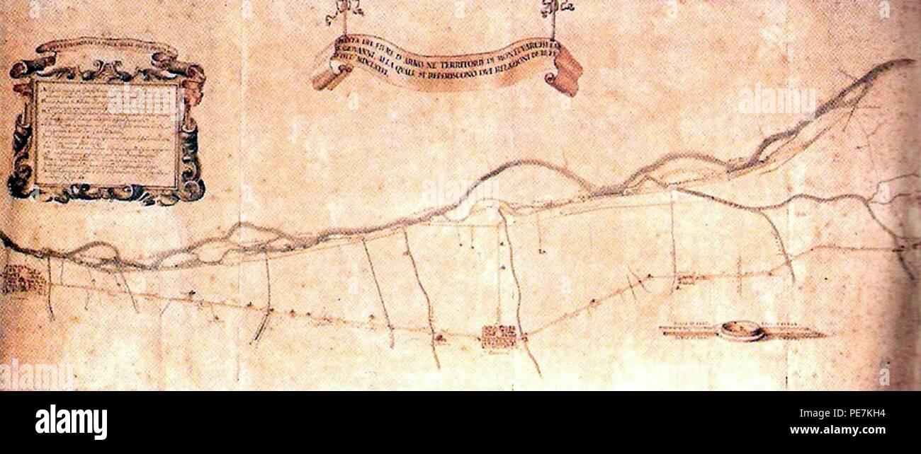 Fiume Arno a Montevarchi e San Giovanni Valdarno in una mappa del 1676. Foto Stock